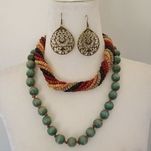 2 wooden bead necklaces w/metal filigree earrings